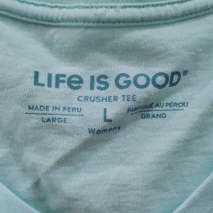 Life Is Good Tops - LIFE IS GOOD blue 'feelin bullish' crusher tee